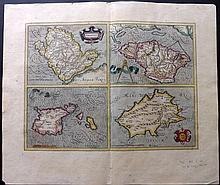 Mercator, Gerard 1613 Hand Coloured Map of Anglesey, Isle of Wight, Guernsey & Jersey