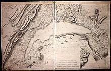 Mallet, Henri C1800 Large Map of Lake Geneva, Switzerland