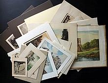 Architectural Etchings 19th-20th Century, Lot of 21, All Signed, Mostly British