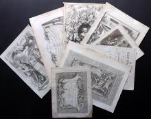 Atlas Title Pages & Frontispieces 18th Century Lot of 8 Copper Engravings
