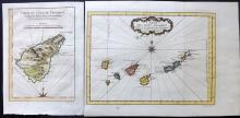 Bellin, Jacques C1750 Pair of Hand Coloured Maps of The Canary Islands, Teneriffe, Spain.