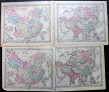 China, Asia C1856-C1875 Lot of 4 Maps by Colton & Johnson
