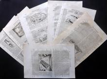 Coronelli, Vincenzo - Greece 1696 Lot of 7 Sheets Containing 17 Engraved Maps & Views of Greek Islands