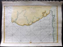 de Mannevillette, Jean-Baptiste d'Après 1775 Hand Coloured Marine Map of the Pegu Coast, Burma