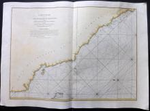de Mannevillette, Jean-Baptiste d'Après 1775 Large Hand Coloured Marine Map of Sumatra, Indonesia