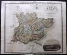 Greenwood, Charles & John 1834 Large Hand Coloured Map of Essex, UK