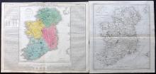 Ireland 1787-1821 Pair of Copper Engraved Maps by Lavoisne/Aspin and Harrison/Rapin