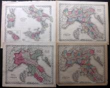 Italy C1860 Group of 4 Hand Coloured Maps by Colton & Johnson