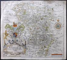Kip, William & Saxton, Christopher 1637 Hand Coloured Map of Derbyshire