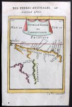 Mallet, Alain Manesson 1683 Hand Coloured Map of New Guinea and Australian Coast