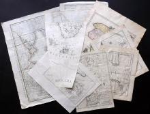 Maps 18th Century. Mixed Lot of 9 Copper Engraved Maps. Portugal, Chile, UK, Martinique, Red Sea, Caspian, Roman Empire
