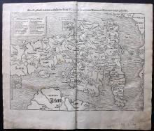 Munster, Sebastian 1578 Woodcut Map of the British Isles