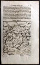 Munster, Sebastian C1628 Woodcut Map of Assyria. Arabia, Persia, Iran