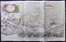 Rapin, de Thoyras & Tindal, Nicholas 1745 Hand Coloured Map/Battle Plan of Mahon, Minorca, Spain