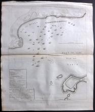 Rapin, de Thoyras & Tindal, Nicholas C1785 Map Battle Plan of the Bay of Bulls, Rotta, Bay of Cadiz, Spain
