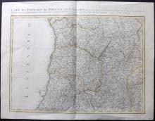 Rizzi Zannoni, Giovanni Antonio C1771 Hand Coloured Map of Portugal and the Algarve