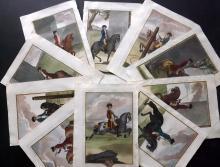 Andrade, Manoel Carlos de 1790 Lot of 15 Rare Hand Coloured Equestrian Horse Prints