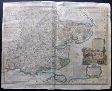Bowen, Emanuel 1760 Large Hand Coloured Map of Essex, UK