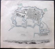 SDUK (Pub) C1840 Hand Coloured Town Plan Map of Brussels (Brxelles)