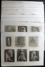 Egypt - Lepsius, Carl Richard C1850 Lot of 9 Large Prints of Egyptian Monuments & Hieroglyphics