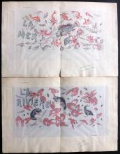 Glaudinont, Emile C1880 Pair of Rare Hand Coloured Lithographs of Fish & Lobsters