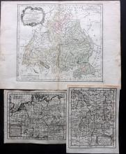 Germany 1739-66 Group of 3 Copper Engraved Maps by Buffier & Brion/Desnos