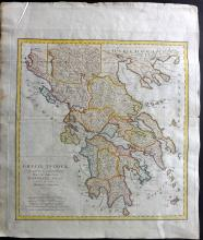 Harrison, John (Pub) 1789 Hand Coloured Map of Ancient Greece from d'Anville