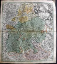 Homann, Johann Baptist C1730 Hand Coloured Map of Bavaria, Germany
