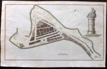 Jamaica 1785 Hand Coloured Map of Port Royal from the Gentleman's Magazine
