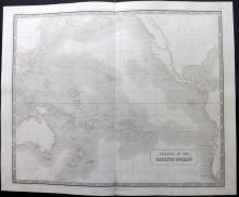 Johnston, Alexander Keith C1860 Large Map of Islands in the Pacific Ocean. Australia
