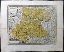 Koehler, Johann David & Weigel, Christoph 1719 Hand Coloured Map of Austria