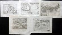 Merian, Matthaus 1640's-C1700 Lot of 5 Copper Engraved Maps/Plans