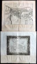 Merian, Matthaus 1655 Pair of Copper Engraved Maps of Dieppe, France