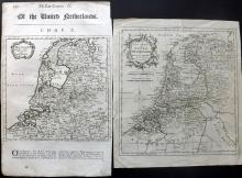 Netherlands 1701-C1760 Pair of Maps by Herman Moll & Thomas Kitchen