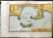 Roux, Joseph C1790 Hand Coloured Map of Civitavecchia, Italy