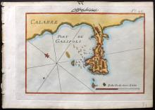 Roux, Joseph C1790 Hand Coloured Map of Gallipoli, Italy