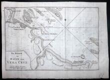 Tirion, Izaak 1766 Copper Engraved Map of Vera Cruz, Mexico