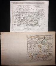 Vaugondy, Gilles Robert de 1749 Pair of Maps of Belgium