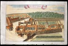 Stow, John 1720 Hand Coloured Architectural Print. Charter House, London