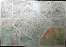 Bartholomew, John 1890's Lot of 20 British Maps from the Royal Atlas of England and Wales