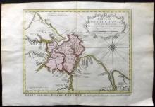 Bellin, Jacques Nicolas 1773 Hand Coloured Map of French Guiana & Cayenne