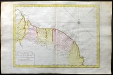 Bellin, Jacques Nicolas 1773 Hand Coloured Map of Guyana