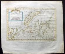 Bellin, Jacques Nicolas 1773 Hand Coloured Map of Nova Zembla, Russia