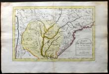 Bellin, Jacques Nicolas 1773 Hand Coloured Map of Paraguay