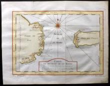 Bellin, Jacques Nicolas C1750 Hand Coloured Map of Le Maire Strait, Tierra del Fuego, Argentina