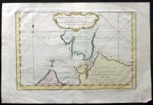 Bellin, Jacques Nicolas C1750 Hand Coloured Map of Strait of Waeigats, Arctic Russia
