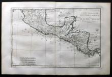 Bonne, Rigobert C1780 Hand Coloured Map of Ancient Mexico or New Spain
