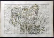 Bonne, Rigobert C1780 Hand Coloured Map of Asia