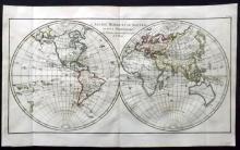 Bonne, Rigobert C1780 Hand Coloured Map of Double World Hemisphere