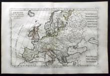 Bonne, Rigobert C1780 Hand Coloured Map of Europe